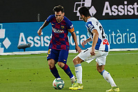8th July 2020; Camp Nou, Barcelona, Catalonia, Spain; La Liga Football, Barcelona versus Espanyol; Leo Messi looks for shooting space past the challenge from Marc Roca of Espanyol
