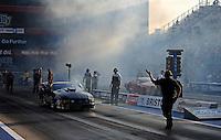 Jun. 15, 2012; Bristol, TN, USA: NHRA crew members for pro mod driver Leah Pruett during qualifying for the Thunder Valley Nationals at Bristol Dragway. Mandatory Credit: Mark J. Rebilas-