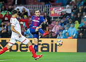 4th November 2017, Camp Nou, Barcelona, Spain; La Liga football, Barcelona versus Sevilla; Paco Alcacer of FC Barcelona with a shot and chance on goal