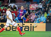 4th November 2017, Camp Nou, Barcelona, Spain; La Liga football, Barcelona versus Sevilla; Paco Alcacer of FC Barcelona with a shot and chance on goal