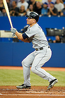 Seattle Mariners third baseman Kyle Seager #15 during an American League game against the Toronto Blue Jays at the Rogers Centre on September 13, 2012 in Toronto, Ontario.  Toronto defeated Seattle 8-3.  (Mike Janes/Four Seam Images)