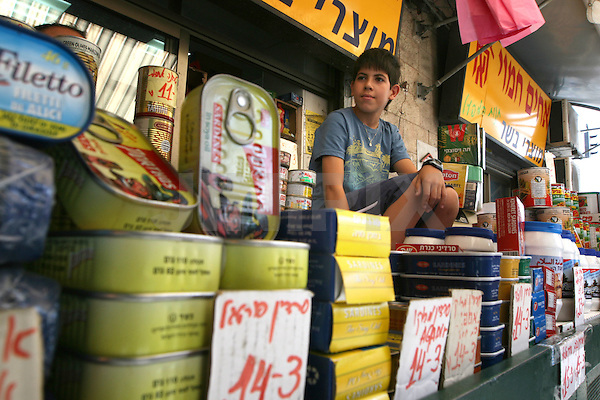 "Portrait of Bar, a 12 year-old Israeli boy who works in the west-Jerusalem market of ""Machane Yehuda"". July 3, 2008 . .Photo by : Tess Scheflan/ JINI"
