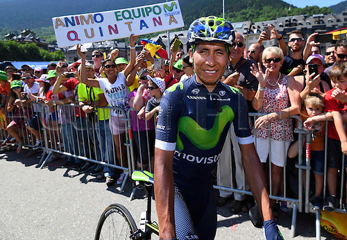 10.07.2016. Vielha Val d'Aran to Andorre Arcalis, France. Tour de France stage 9.    QUINTANA Nairo of Movistar Team at the start of stage 9