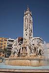 Fountain in Plaza de la Luceros Square, Alicante, Spain