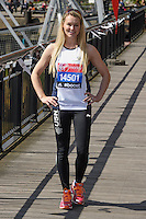 Amy Guy at the photocall for celebs running the 2014 London Marathon, London. 09/04/2014 Picture by: Steve Vas / Featureflash