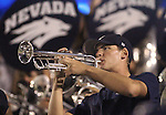 A band member performs with the Nevada Marching Band at the University of Nevada, Reno, on Sept. 11, 2010. <br /> Photo by Cathleen Allison
