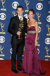 LOS ANGELES, CA. - September 20: Actor Jon Cryer and wife Lisa Joyner pose in the press room at the 61st Primetime Emmy Awards held at the Nokia Theatre on September 20, 2009 in Los Angeles, California.