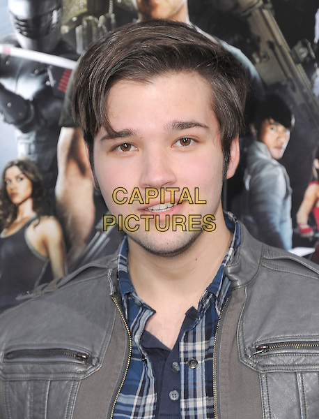 """Nathan Kress.""""G.I. Joe: Retaliation"""" Los Angeles Premiere held at TCL Chinese Theatre, Hollywood, California, USA..March 28th, 2013     .headshot portrait blue shirt check grey gray jacket.CAP/DVS.©DVS/Capital Pictures."""