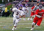 TD Ierlan (#3) attacks as UAlbany Men's Lacrosse defeats Richmond 18-9 on May 12 at Casey Stadium in the NCAA tournament first round.