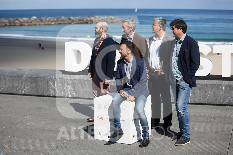 Movie director Alejandro Amenabar poses with his producers during `Regression´ film presentation at 63rd Donostia Zinemaldia (San Sebastian International Film Festival) in San Sebastian, Spain. September XX, 2015. (ALTERPHOTOS/Victor Blanco)
