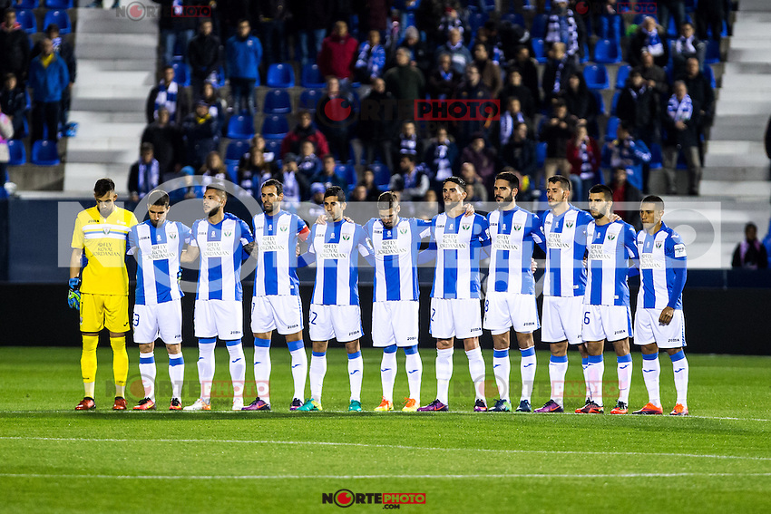 "Club Deportivo Leganes's Alberto Brignoli, Alberto Martin, Miguel Angel Guerrero, Darwin Machis, Ruben Perez, Gabriel Appelt Pires  during the match of ""Copa del Rey"" between CD Leganes and Valencia CF at Butarque Stadium in Leganes, Spain. November 29, 2016. (ALTERPHOTOS/Rodrigo Jimenez) /NORTEPHOTO.COM"