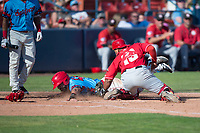 Spokane Indians left fielder Tanner Gardner (44) is tagged out by Yorman Rodriguez (13) white attempting to steal home plate during a Northwest League game against the Vancouver Canadians at Avista Stadium on September 2, 2018 in Spokane, Washington. The Spokane Indians defeated the Vancouver Canadians by a score of 3-1. (Zachary Lucy/Four Seam Images)