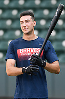 Shortstop AJ Graffanino (16) of the Rome Braves takes batting practice before a game against the Greenville Drive on Wednesday, July 11, 2018, at Fluor Field at the West End in Greenville, South Carolina. He is the Atlanta Braves' 2018 eighth-round draft pick. (Tom Priddy/Four Seam Images)