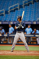 Michael Berglund (3) at bat during the Tampa Bay Rays Instructional League Intrasquad World Series game on October 3, 2018 at the Tropicana Field in St. Petersburg, Florida.  (Mike Janes/Four Seam Images)