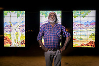 Parrtjima, a festival in Light, Alice Springs, Australia 2017. Artist, Mervyn Rubuntja from Iltja Ntjarra, Many Hands Art Centre. September 21, 2017. James Horan Photography for Tourism NT