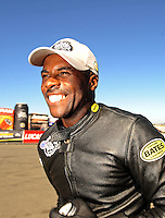 Jul. 18, 2010; Sonoma, CA, USA; NHRA pro stock motorcycle rider Michael Phillips celebrates after winning the Fram Autolite Nationals at Infineon Raceway. Mandatory Credit: Mark J. Rebilas-