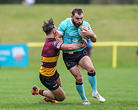 Sean Scanlon of Nottingham Rugby (right) during the Greene King IPA Championship match between Ampthill RUFC and Nottingham Rugby on Ampthill Rugby's Championship Debut at Dillingham Park, Woburn St, Ampthill, Bedford MK45 2HX, United Kingdom on 12 October 2019. Photo by David Horn.