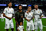 (L-R) Varane, Marcelo, Luka Modric and Sergio Ramos pose with their trophies of Best FIFA Men's Player Award 2018 during their La Liga  2018-19 match between Real Madrid CF and Atletico de Madrid at Santiago Bernabeu on September 29 2018 in Madrid, Spain. Photo by Diego Souto / Power Sport Images