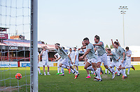 Celebrations as the final penalty is saved during the 'Greatest Show on Turf' Celebrity Event - Once in a Blue Moon Events at the London Borough of Barking and Dagenham Stadium, London, England on 8 May 2016. Photo by Andy Rowland.