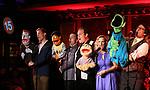 Barrett Foa, Rob McClure, Jordan Gelber, Anika Larsen and Ricj Lyon during the 'Avenue Q' 15th Anniversary Reunion Concert at Feinstein's/54 Below on July 30, 2018 in New York City.