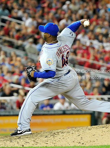 New York Mets pitcher Frank Francisco (48) works in the ninth inning against the Washington Nationals at Nationals Park in Washington, D.C. on Saturday, August 18, 2012.  The Mets won the game 2 - 0..Credit: Ron Sachs / CNP.(RESTRICTION: NO New York or New Jersey Newspapers or newspapers within a 75 mile radius of New York City)