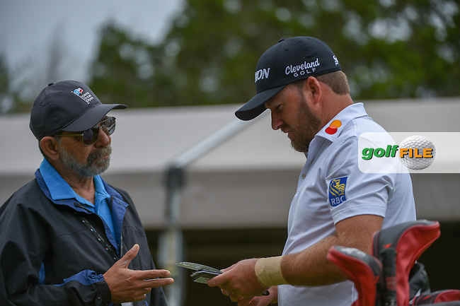 Graeme McDowell (NIR) chats with a volunteer on the tee on 1 before day 4 of the Valero Texas Open, at the TPC San Antonio Oaks Course, San Antonio, Texas, USA. 4/7/2019.<br /> Picture: Golffile | Ken Murray<br /> <br /> <br /> All photo usage must carry mandatory copyright credit (© Golffile | Ken Murray)