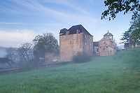 France, Corrèze (19), Lissac-sur-Couze, le château et l'église Saint-Pierre