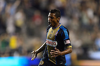Jose Kleberson (19) of the Philadelphia Union celebrates scoring the game winning goal in second half stoppage time. The Philadelphia Union defeated Toronto FC 1-0 during a Major League Soccer (MLS) match at PPL Park in Chester, PA, on October 5, 2013.