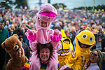 © Joel Goodman - 07973 332324. 06/08/2017 . Macclesfield , UK . Crowd dressed as characters from children's TV show Rainbow at the Rewind Festival , celebrating 1980s music and culture , at Capesthorne Hall in Siddington . Photo credit : Joel Goodman