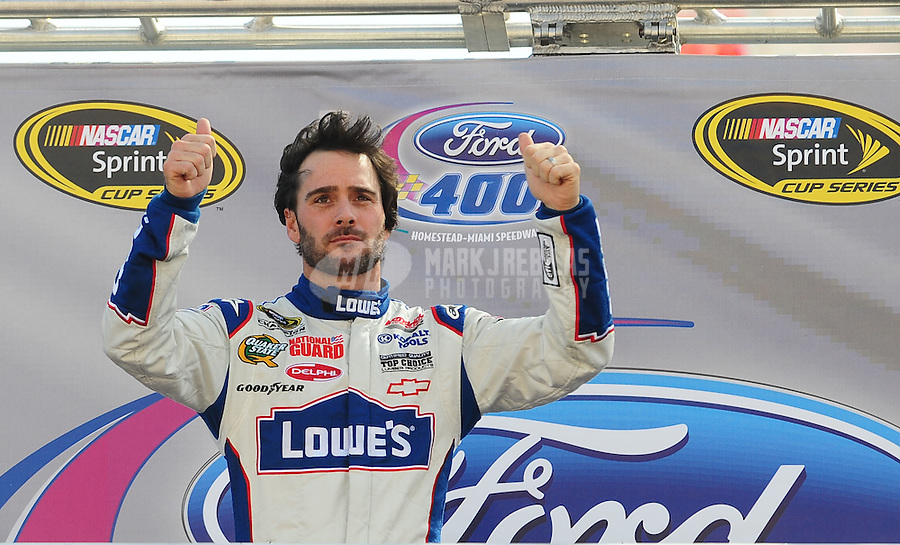 Nov. 21, 2010; Homestead, FL, USA; NASCAR Sprint Cup Series driver Jimmie Johnson prior to the Ford 400 at Homestead Miami Speedway. Mandatory Credit: Mark J. Rebilas-