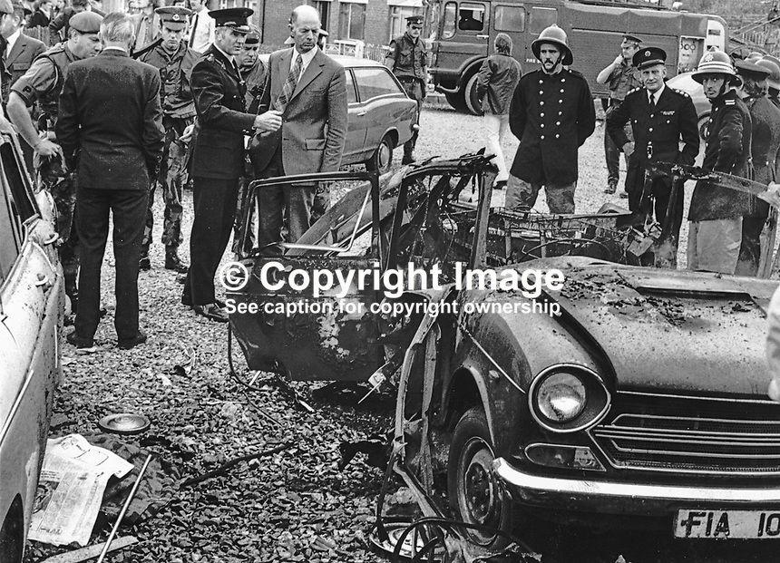 Police, army and fire service personnel at the scene of a booby-trap bomb explosion in Ava Crescent, Belfast, N Ireland, in which Michelle O'Connor, 3 years, died and her father, John O'Connor, was seriously injured. The O'Connors, Roman Catholics, lived a short distance away in Sunnyside Park. The target of the bomb attack was almost certainly Michele's father who was the manager of a pub which had previously been attacked by the UDA or its flag of convenience, the UFF. 1975061301MOC.<br />