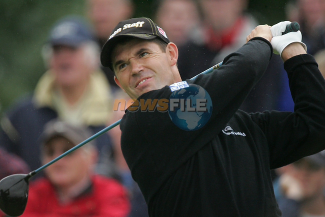 Padraig Harrington drives off on the par 4 13th hole during the first round of the Smurfit Kappa European Open at The K Club, Strffan,Co.Kildare, Ireland 5th July 2007 (Photo by Eoin Clarke/NEWSFILE)