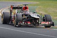 MELBOURNE, 17 MARCH - Kimi Raikkonen (FIN) of the Lotus F1 team goes through turn one in the 2013 Formula One Rolex Australian Grand Prix at the Albert Park Circuit in Melbourne, Australia. Photo Sydney Low/syd-low.com