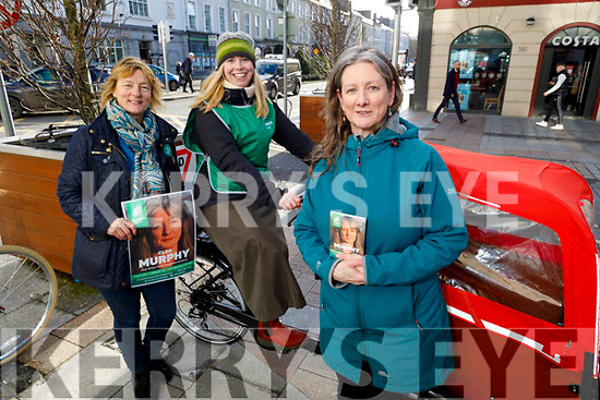 Members of the Green Party in the Mall in Tralee on Monday.<br /> MEP Grace O'Sullivan (Ireland South), Ann Marie Fuller and Cleo Murphy (Kerry Green Party Candidate)