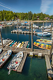 ALASKA, Ketchikan, fishing boats ands kayaks moored in the Behm Canal near Clarence Straight, Knudsen Cove along the Tongass Narrows