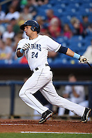 Lake County Captains outfielder Brian Ruiz (24) at bat during a game against the Fort Wayne TinCaps on August 21, 2014 at Classic Park in Eastlake, Ohio.  Lake County defeated Fort Wayne 7-8.  (Mike Janes/Four Seam Images)