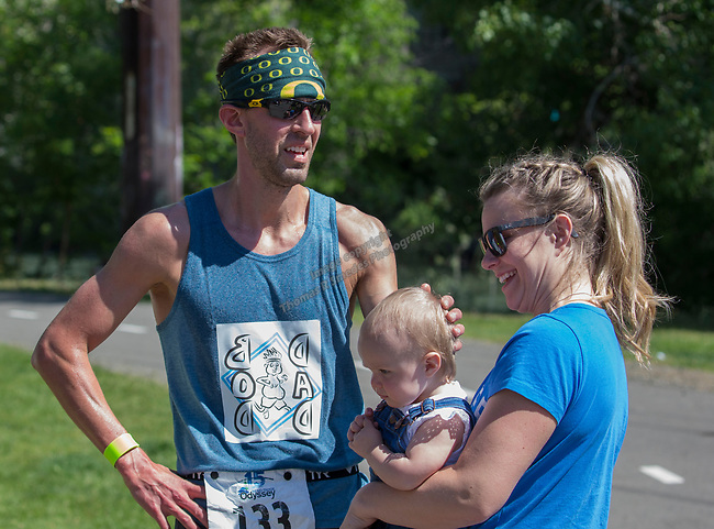 Jeff, Erin and daughter Mackenzie at the 2019 Reno Tahoe Odyssey finish at Idlewild Park in Reno on Saturday, June 1, 2019.