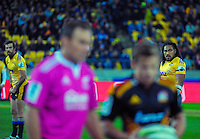 Ma'a Nonu (right) and Conrad Smith wait for a scrum feed during the Super Rugby match between the Hurricanes and Chiefs at Westpac Stadium, Wellington, New Zealand on Saturday, 16 May 2015. Photo: Dave Lintott / lintottphoto.co.nz