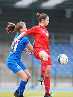 20191221 - WOLUWE: Woluwe's Celine Verdonck in action (right) while Gent's Zoe Van De Cloot (left) puts pressure, during the Belgian Women's National Division 1 match between FC Femina WS Woluwe A and KAA Gent B on 21st December 2019 at State Fallon, Woluwe, Belgium. PHOTO: SPORTPIX.BE | SEVIL OKTEM