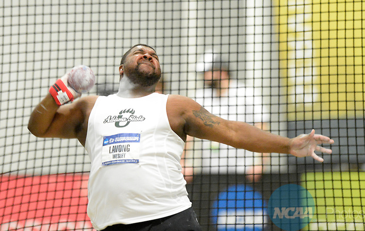 15 MAR 2014: Wesley Lavong of Adams State does the Shot Put during the Division II Men's and Women's Indoor Track and Field Championships held at the JDL Fast Track in Clemmons, NC, Saturday March 15, 2014.  Lavong won the Shot Put with a throw of 19.50m.  Bruce Chapman/NCAA Photos