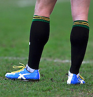 Northampton, England. Jamie Elliott of Northampton Saints Xblades boots during the Northampton Saints and Leicester Tigers  during the Aviva Premiership match at Franklin's Gardens, Northampton, England on March 29, 2014