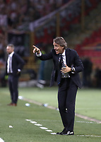 Football: Uefa Nations League match Italy vs Poland, Renato Dall'Ara stadium, Bologna, Italy, September 7, 2018. <br /> Italy's national team coach Roberto Mancini speaks to his players during the Uefa Nations League match between Italy and Poland at the Renato Dall'Ara stadium, Bologna, Italy, September 7, 2018. <br /> <br /> UPDATE IMAGES PRESS/Isabella Bonotto