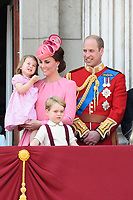 Princess Charlotte, Catherine Duchess of Cambridge, Prince William and Prince George<br /> on the balcony of Buckingham Palace during Trooping the Colour on The Mall, London. <br /> <br /> <br /> &copy;Ash Knotek  D3283  17/06/2017