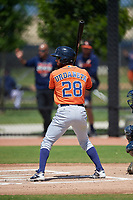 Houston Astros Ronaldo Urdaneta (28) bats during a Minor League Spring Training Intrasquad game on March 28, 2019 at the FITTEAM Ballpark of the Palm Beaches in West Palm Beach, Florida.  (Mike Janes/Four Seam Images)