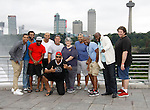 Cast Members Black Angels Over Tuskegee - Left to Right: Jeantique Oriol, Nilton Emilio, Lamar Cheston, Delano Barbosa, Craig Colasanti, Melvin Huffnagle, Thaddeus Daniels, Mitch Ost, David Roberts and front Layon Gray as they visit Niagara Falls - this photo on the American side of the falls on September 8, 2015. (Photo by Sue Coflin/Max Photos)