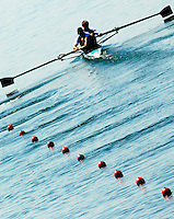 Beijing, CHINA, KAZ JM2-,  moving away from the start pontoons, during the  2007. FISA Junior World Rowing Championships Shunyi Water Sports Complex. Wed. 08.08.2007  [Photo, Peter Spurrier/Intersport-images]..... , Rowing Course, Shun Yi Water Complex, Beijing, CHINA,