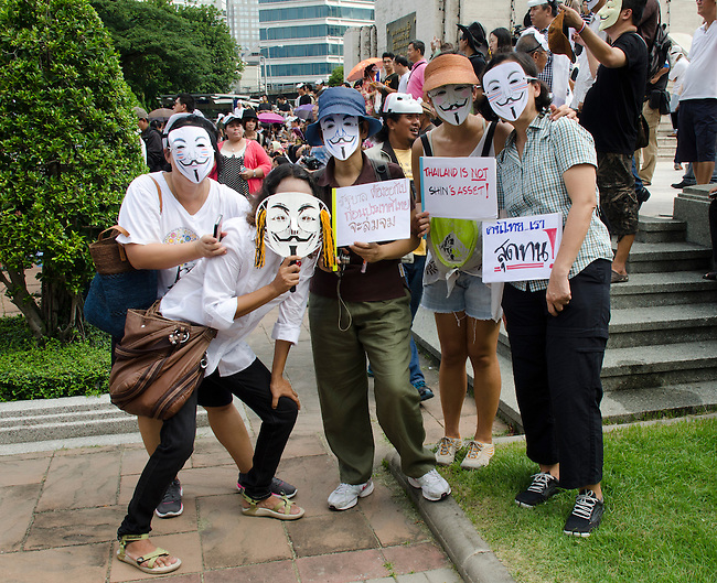 BANGKOK, July 14: Anti-government protestors supporting the white-mask movement against corruption in the Yingluck Shinawatra government gathered at Lumpini Park on the second anniversary of the Yingluck administration to protest the blatant corruption in government policy and practice. July 14, 2013, Bangkok, Thailand