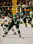24 October 2015: University of North Dakota Defenseman Christian Wolanin, a Freshman from Rochester, MI, in first period action against the University of Vermont Catamounts at Gutterson Fieldhouse in Burlington, Vermont. North Dakota defeated the Catamounts 5-2 in the second game of their weekend series. Mandatory Credit: Ed Wolfstein Photo *** RAW (NEF) Image File Available ***