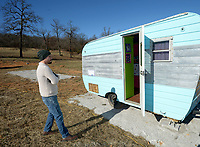 NWA Democrat-Gazette/ANDY SHUPE<br /> Zack Kraus leads a tour Thursday, Jan. 4, 2018, of Flamingo Springs Trailer Resort, the 1950s-themed collection of vintage camper trailers that he and his wife, Laura, plan to open southwest of Prairie Grove pending a decision by the Washington County Planning Board Jan. 11.