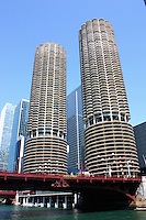 Looking up from the Chicago River at the Marina City complex